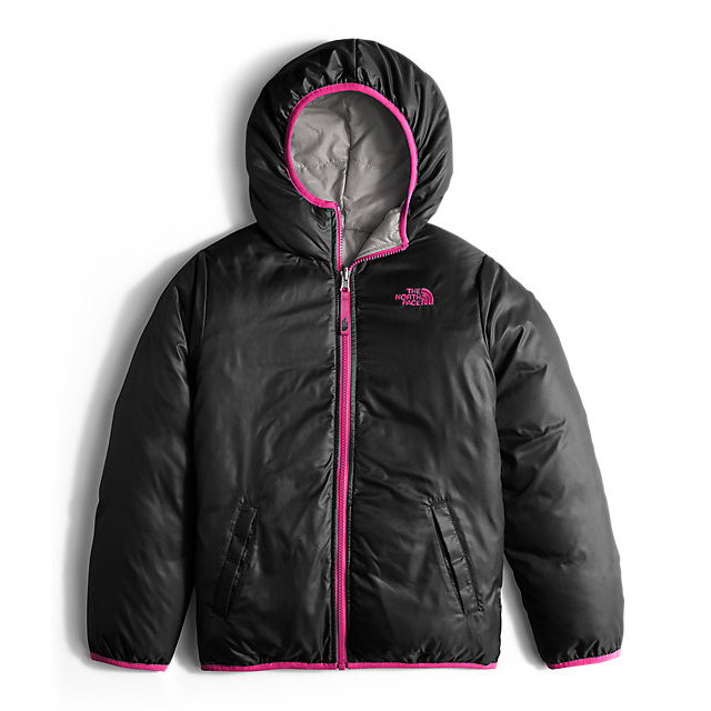 CHEAP NORTH FACE GIRLS\' REVERSIBLE MOONDOGGY DOWN JACKET METALLIC SILVER HEATHER ONLINE