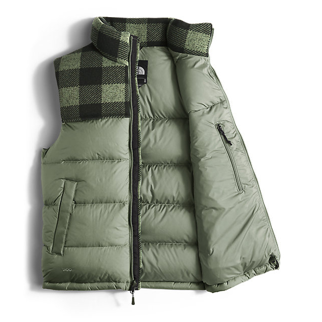 CHEAP NORTH FACE MEN\'S NUPTSE VEST DUCK GREEN/DUCK GREEN GRIZZLY PRINT ONLINE