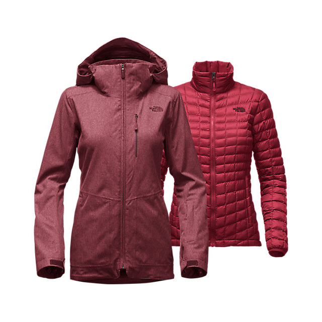 CHEAP NORTH FACE WOMEN'S THERMOBALL SNOW TRICLIMATE PARKA DEEP GARNET RED HEATHER ONLINE